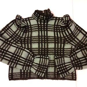ZARA Mohair Blend Plaid Mock Neck Ruffle Sweater